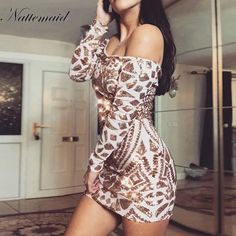 Chicloth Sequined Short Off The Shoulder Mini Dresses Trendy Dresses, Club Dresses, Mini Dresses, Fashion Dresses, White Sequin Dress, White Maxi, Boho Mini Dress, Lace Dress, Cheap Dresses Online