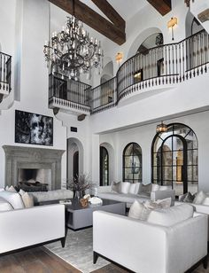 Gorgeous restoration hardware style living room decor with modern track arm sofas replica Mansion Interior, Dream House Interior, Luxury Homes Dream Houses, Dream Home Design, Modern House Design, Home Interior Design, Room Interior, Dream House Plans, My Dream House