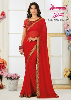Red is in Air! Brighten up your mood with this thoughtfully designed Red Georgette Saree. Its Fancy Lace and glittering Diamonds give it a Charm! It carries matching Georgette Blouse piece. Laxmipati Sarees, Georgette Sarees, Saris, Indian Clothes Online, Red Saree, Saree Styles, Beautiful Saree, Sarees Online, Daily Wear