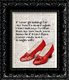 Ruby Slippers - Wizard Of Oz - Dorothys Hearts Desire Quote - Dictionary Print Vintage Book Page Art Upcycled Vintage Book Art Free Prints, Prints For Sale, Wizard Of Oz Quotes, Desire Quotes, Vintage Book Art, Book Page Art, Land Of Oz, Ruby Slippers, Yellow Brick Road