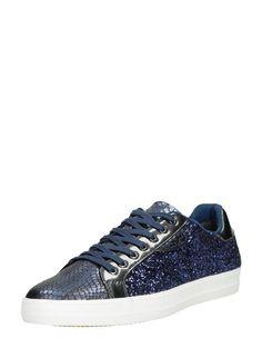 Tamaris Marras lage dames sneaker met glitters en reptielenprint - blauw