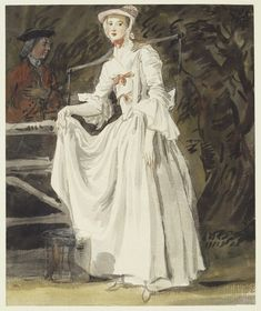 Paul Sandby (1731-1809)The celebrated Kitty Fisher circa 1758-circa 1760.A popular song, 'Kitty Fisher's Merry-thought' was the subject of one of Paul Sandby's etchings of the cries of London, published in 1760 (see RCIN 814303.g). The present drawing is probably of a similar date.From a volume of 134 figure studies acquired (£35) at the Paul Sandby estate sale, 1811
