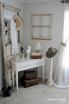 Love this idea, maybe for like a little place for my make up and girl stuff and he can have the bathroom. :)