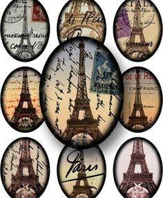 Framed Vintage French Ephemera, Paris and The Eiffel Tower in 30x40 mm ovals for pendants and more -- piddix #printables 656.