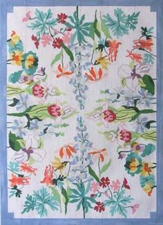 """Wildflower Rug needlepoint canva by Jean Smith Description: 86 A, 33""""x 45-1/2"""", 10m"""