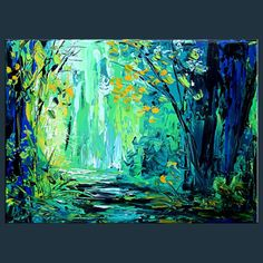 """""""Green Dream 2""""  23""""X 30""""   MODERN ABSTRACT  GICLEE PRINT FROM ORIGINAL PAINTING ON STRETCHED CANVAS  BY MILEN"""