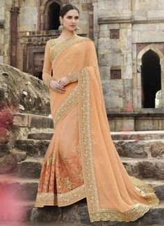 5706362f1 Cream Embroidery Cut Work Net Georgette Bridal Wear Sarees Red Embroidery Sequin  Work Georgette Silk Wedding