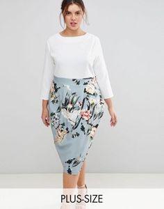 Closet London Plus 2 in 1 Contrast Floral Pencil Dress