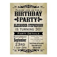 Rustic Vintage Country Birthday Party Invitation