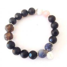 gohi achát, záhneda, sodalit a ónyx Beaded Bracelets, Jewelry, Fashion, Jewellery Making, Jewlery, Jewelery, Fashion Styles, Pearl Bracelets, Jewerly