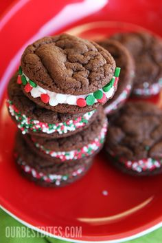 Chocolate Peppermint Sandwich Cookies - this is a from scratch recipe, I make ours with Devils food cake mix, 2 eggs and 1/2 Cup Butter.  Simple and yummy!