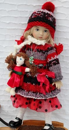 "Hand Knit Dress Set Dolly for 13"" Effner Little Darling by Barbara 