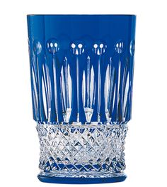 Saint Louis Tommy Tea Tumbler Dark Blue Barware Tableware Crystal. Harlequin London.