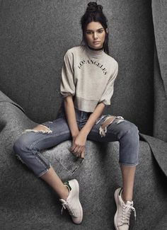 Kendall  of course, ❤️ the cropped jeans w/ the sneakers