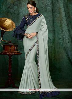 Pastel Blue Party Wear Saree features Georgette Silk with Taffeta Silk Blouse. Sari Blouse Designs, Fancy Blouse Designs, Kurta Designs, Fancy Sarees, Party Wear Sarees, Designer Sarees Online, Indian Designer Sarees, Indian Sarees, Stylish Blouse Design