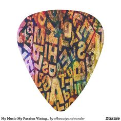 My Music My Passion Vintage Look Guitar Pick - classic gifts gift ideas diy custom unique Retro Ideas, Guitar Picks, Personalized Products, Love Gifts, Vintage Gifts, My Passion, Vintage Looks, My Music, Triangle