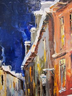 'Christmas Street' by Gleb Goloubetski Oil on Canvas 60cm x 50cm