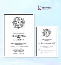 Stately Monogram Wedding Invitation Templates with RSVP - free to download and print at home wedding invitation templates