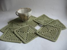 Crochet Coasters in  Olive Gray Green Set of 7(6+1)  Drink Mats  Doilies Of Cotton