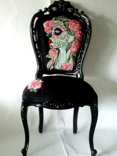 Vintage Style Chair in Gloss Black with Hand Embroidery Artwork,Day Of The Dead Gypsy Bride