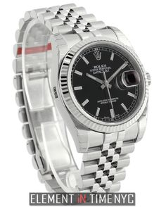 Element In Time   #Rolex #Datejust 36mm Stainless Steel Fluted Bezel Black Index Dial 116234 ($6,895.00)