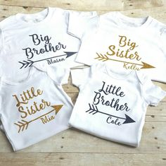 Set of four personalized sibling shirts big by TwoCuteDragonflies