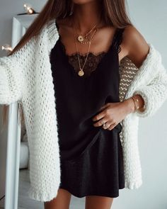 #fall #outfits women's white cardigan and black square-neckline sleeveless shirt