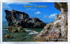 $3.29 - Acrylic Fridge Magnet: United States Virgin Islands. Saint Thomas. Rocks