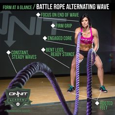 Proper form for the Battle Rope Alternating Wave exercise means more than simply flailing your arms up and down until the clock is up!