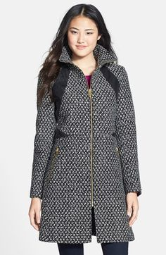 Free shipping and returns on Via Spiga Faux Leather Trim Front Zip Coat at Nordstrom.com. Gleaming golden zips and slick faux-leather insets add sophisticated glam to a stand-collar coat patterned in black-and-white jacquard and cut for a nipped silhouette.