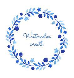 Watercolor wreath vector - by Vodoleyka on VectorStock®