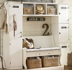 great mud room storage; love the locker on the left, one for each kid