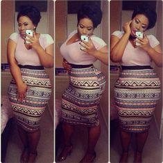 Tribal printed high waisted skirt
