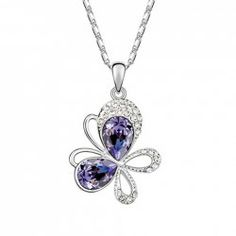 $2.24 Sweet Rhinestone Decorated Butterfly Pendant Necklace For Women