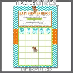 Digital Printable Bingo Game Cards Snips and Snails and Puppy Dog Tails in Aqua, Orange and Lime Green for Baby Showers #Sale by HeadsUpGirls, $8.00