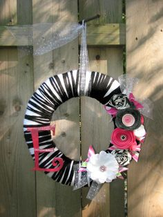 "12"" Zebra print and hot pink nursery wreath - The Ella. $38.00, via Etsy."