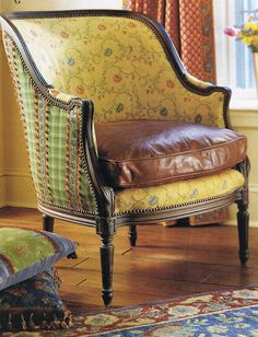 mixed materials club chair (French Country Living, Mars 2004)