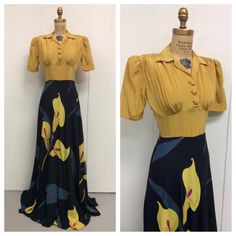 1940s Calla Lilly Gown 40s by LostnFoundVintage on Etsy, $185.00 My grandma would love this.