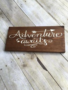Wood Sign, Adventure Awaits Sign, Travel Wood Sign, Adventure Wood Sign, Gallery Wall, Inspirational Sign, Arrow Wood Sign, Wanderlust Sign by LibertyByDesign on Etsy