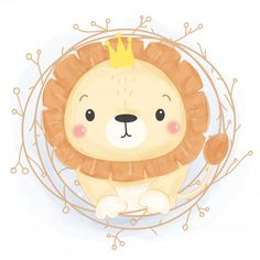 adorable lion illustration, nursery decoration, animals drawing - Buy this stock vector and explore similar vectors at Adobe Stock Animal Drawings, Cute Drawings, Drawing Faces, Valentines Day Doodles, Baby Animals, Cute Animals, Watercolor Lion, Cute Animal Illustration, Squirrel Illustration