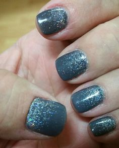 Grey gel nails with a silver holographic glitter ombre. #ctdaytonails #gelish #blingnails