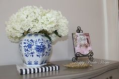 The pretty Annabelle Hydrangeas are from my garden and smell divine. I paired them with a blue and white ginger jar.
