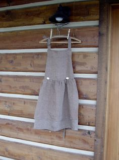Brown Linen Apron with Antler Buttons size smallmedium by CabinLil, $38.00