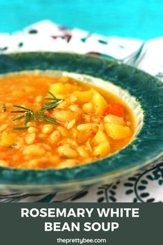 A hearty bowl of white bean soup is just the thing to make on a cool fall evening. A tasty, filling meal that both kids and adults love. #beansoup #whitebean #rosemary #glutenfree