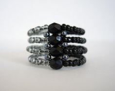 Zaad kraal ring, rechte hoek weven ring met zwarte ring, Woven ring, Beaded ring, kralen ring, grootte U.S. 7