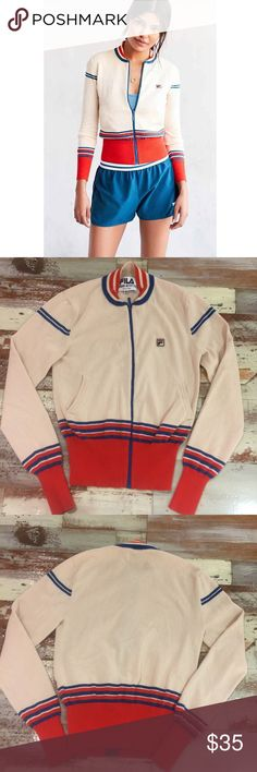 FILA + UO Rib Sweater Zip Up FILA + UO Rib Sweater Zip Up. Good condition. Size Medium fits a Small. These tips are running small. Very cozy and very cool. Dress it up or down. Fila Sweaters Cardigans