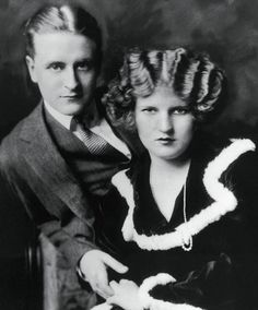"Scott and Zelda posing for Hearst's International Magazine, May 1923. Zelda called it her ""Elizabeth Arden face"" and pasted it in her scrapbook."