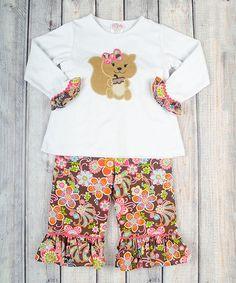 Love this White & Pink Garden Glow Tee & Pants - Infant, Toddler & Girls on #zulily! #zulilyfinds