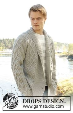 """Knitted DROPS mens jacket with cable pattern and shawl collar in """"Lima"""". Size: S - XXXL. ~ DROPS Design"""