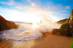 crashing of the waves is always a beautiful sight, especially with a sunset